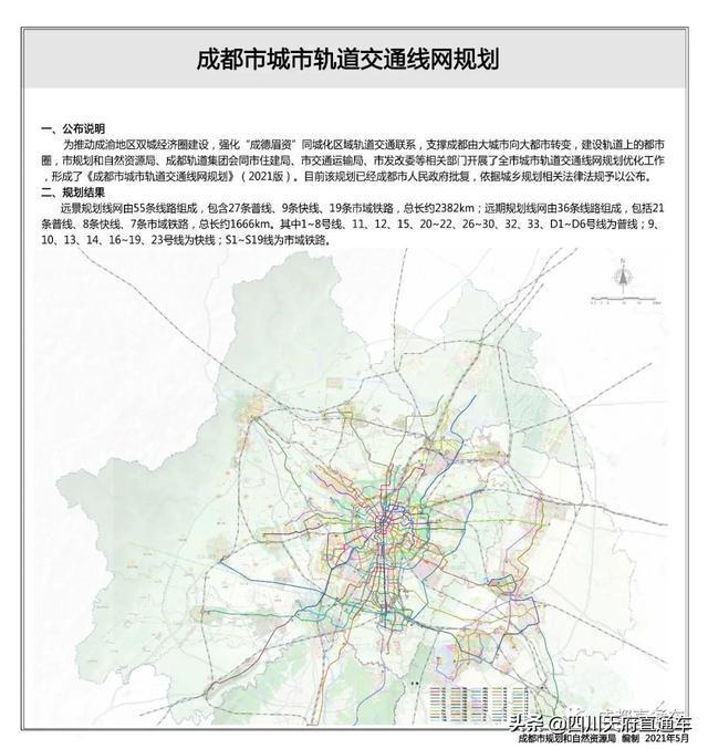 成都市规划自然资源局正式公布《2021版成都市城市轨道交通线网规划》